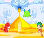 Волейбол живым шариком на двоих